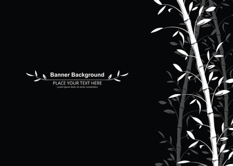 Bamboo pattern banner background. Black and white decorative bamboo branches wallpaper - vector illustration