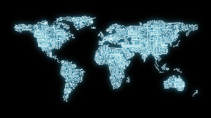 Blue tinted illustration of world map rendered as computer circuits representing communication and networking