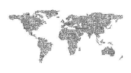 Black and white illustration of world map rendered as computer circuits representing communication and networking
