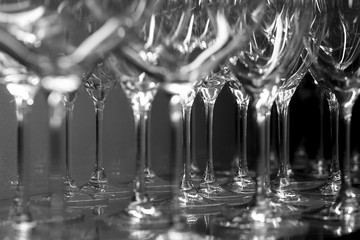 Detail in black and white of many goblets