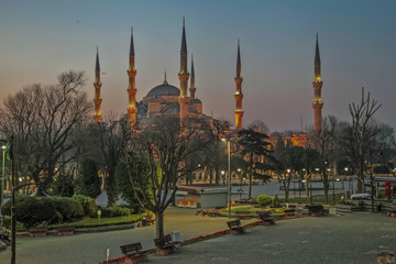ISTANBUL, TURKEY - MARCH 24, 2012: Sultanahmet Mosque in the early morning.