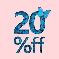 20% discount sale promotion. The concept of stylish poster, banner, ads.
