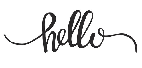 Hand drawn word hello vector icon