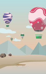 Background design with the nature and parachute, Mobile wallpaper vector.