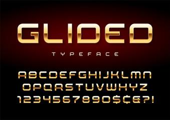 Vector shiny golden display font design, alphabet, character set