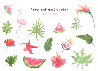 Set of tropical watercolor graphics with leaves, flowers and flamingo. Bright decoration for your design
