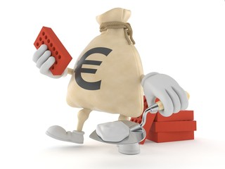 Euro money bag character with trowel and bricks