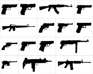 Large and detailed icon set of different weapons