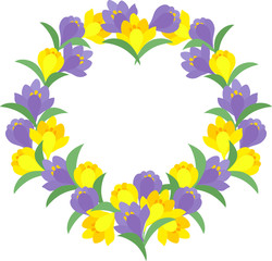 The frame that is made with crocuses