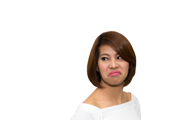 Beautiful asian woman make up angry face on white background, clipping path