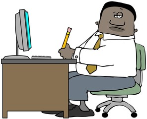 Illustration of a black man sitting at an office desk with a computer monitor and keyboard.