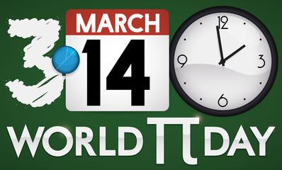 Blackboard, Calendar and Clock Promoting World Pi Day, Vector Illustration