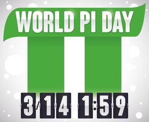 Pillars Forming Pi Symbol and Flip Clock for Pi Day, Vector Illustration