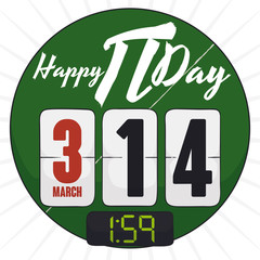 Rounded Chalkboard with Pi Value like Time for Pi Day, Vector Illustration