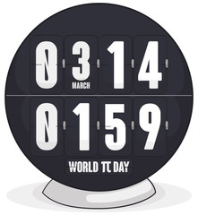 Pi Day Celebrated with Flip Clock with Value of Pi, Vector Illustration