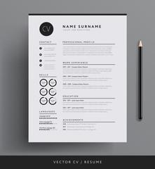Elegant CV / resume template minimalist black and white vector