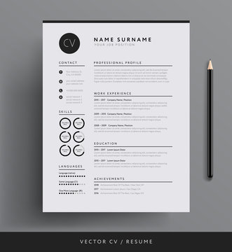 Elegant CV / resume template minimalist black and white vector