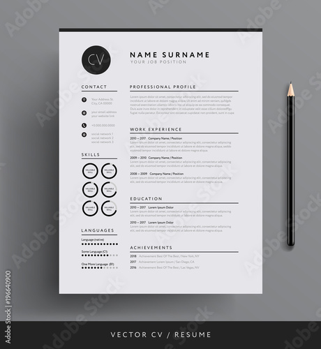 Elegant CV / resume template minimalist black and white vector ...