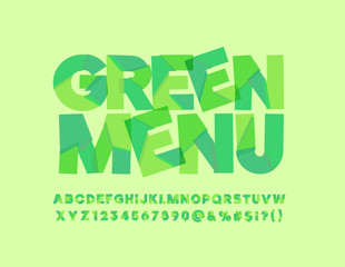 Vector sliced Bio label Green Menu. Abstract leave Font. Alphabet Letters, Numbers and Symbols for Ecological friendly Text
