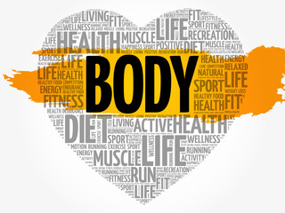 BODY heart word cloud, fitness, sport, health concept background