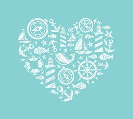 Sea heart background, light blue, vector. Dolphin, fish and attributes sea travel. White icons in the shape of a heart. Vector picture. Hatching with a white pencil on a light blue field. Imitation.