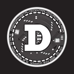 Crypto currency white coin with black dogecoin symbol on obverse isolated on black background. Vector illustration. Use for logos, print products, page and web decor or other design.