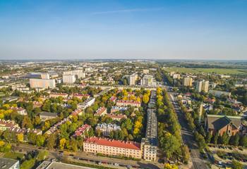 Lublin - dzielnica Bronowice z lotu ptaka. Okolice ulicy Męczenników Majdaka, widziane z powietrza.