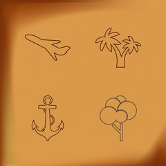 tree , plane , palm  and anchor line icons