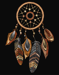 Embroidery tribal dream catcher boho native american indian talisman dreamcatcher. Fashionable template for design of clothes. Magic tribal feathers