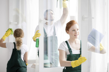 Team cleaning office windows