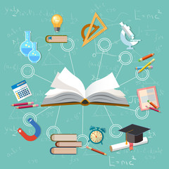 Education infographics open book of knowledge, school background education infographics