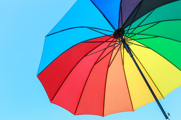 color full umbrella on blue sky
