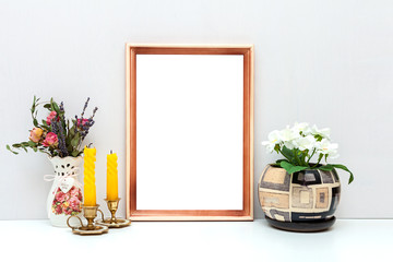A4 wooden frame mockup with flowers and candles