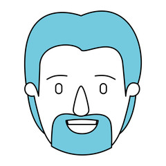 silhouette cartoon front view face man with beard and blue hair vector illustration