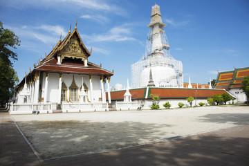 Chedi and ubosot of Wat Phra Mahathat Woramahawihan in Nakhon Si Thammarat, Thailand