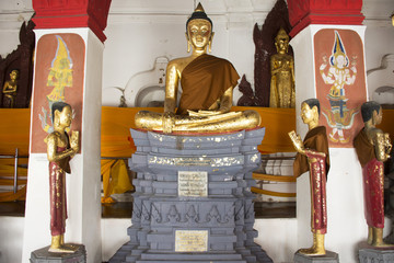 Golden buddha statue of Wat Phra Mahathat Woramahawihan in Nakhon Si Thammarat, Thailand