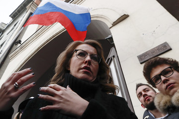 Presidential candidate Sobchak attends a ceremony to unveil a commemorative plaque in honour of slain Russian opposition leader Nemtsov in Moscow
