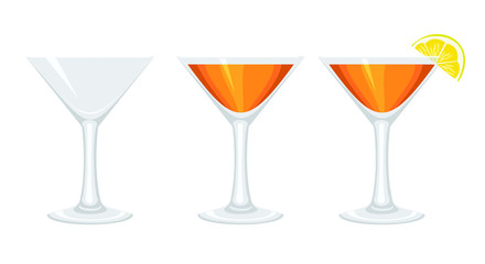 Set glass goblets with cocktail and with lemon.