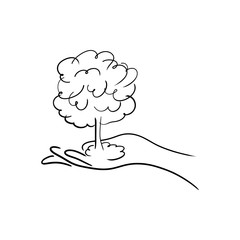 hand holdin a tree or atomic bomb vector illustration sketch hand drawn with black lines isolated on white background