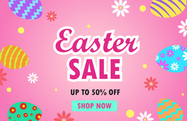 Vector illustration of easter sale banner with colorful easter eggs on pink background