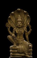 Vishnu Idol in Wooden carving