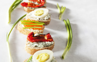 Sandwiches,  sandwich with vegetables,  sandwich with red caviar,  egg sandwich, sandwich snack, various sandwiches