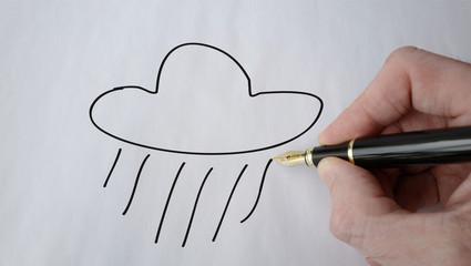 nuage et pluie picto stylo plume