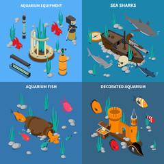 Aquarium Concept Icons Set