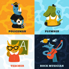 Humanized Animals Different Professions Concept