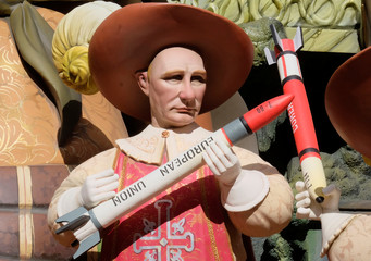 A figure representing Russian President Vladimir Putin is depicted at a monument during the Fallas festival in Valencia
