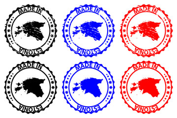 Made in Estonia - rubber stamp - vector, Estonia map pattern - black,blue and red