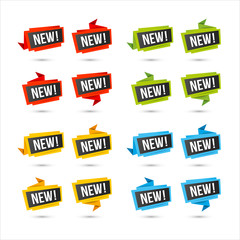 New vector icons - Origami paper labels