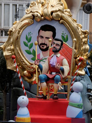 A figure representing Spain's King Felipe is depicted at a monument during the Fallas festival in Valencia