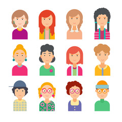 Set of faces in flat design